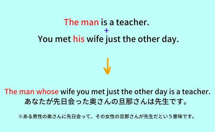 The man whose wife you just met the other day is a teacher.